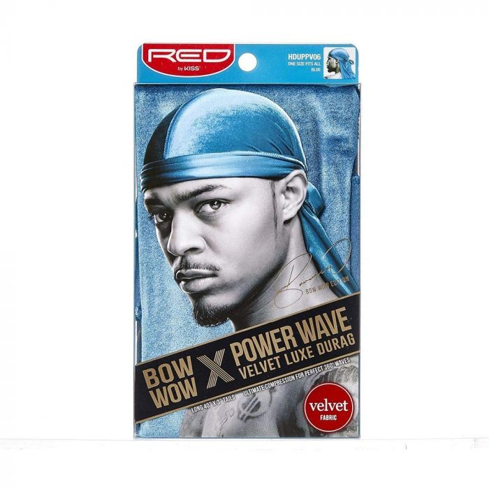 POWER WAVE VELVET DURAG / BLUE red by kiss